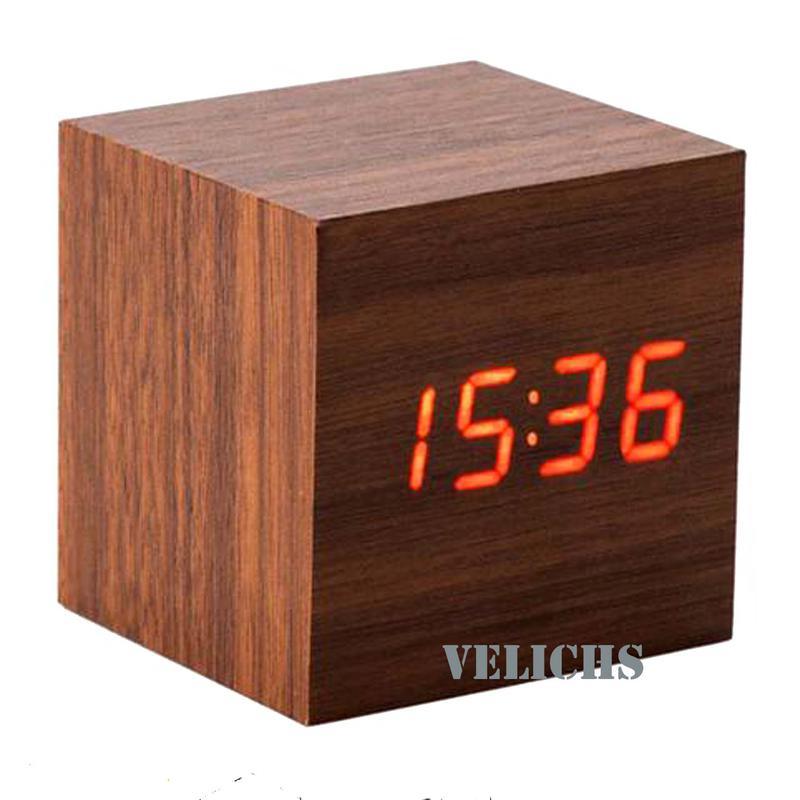 Электронные часы с будильником термометром календарём (дерево)