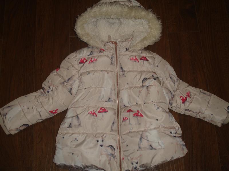 Фирменная next теплая деми куртка девочке 3-4 лет отличная
