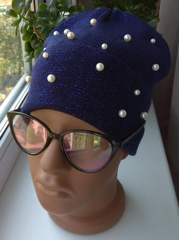 Красивая осенняя шапочка с люрексом и бусинами бини, темно-синяя