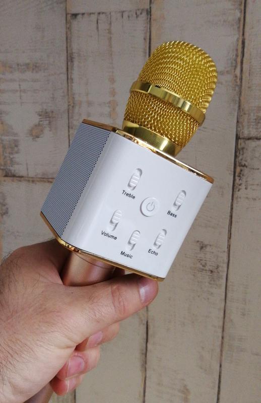 Караоке микрофон с блютуз Q7   2 динамика!!!