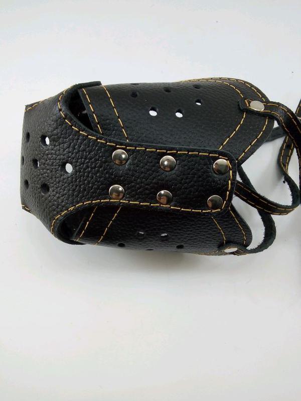 Намордник кожаный ротвеллер с петелькой для ошейника - Фото 5