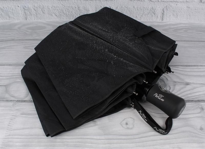 Качественный складной зонт полуавтомат popular 846-6р черный с...