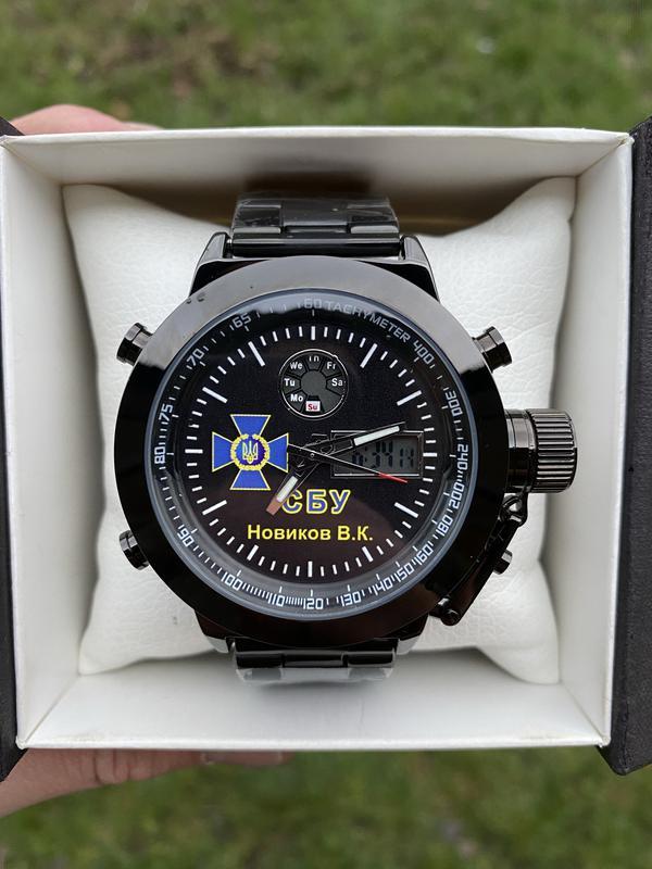 Мужские наручные электронные часы  skmei логотип СБУ