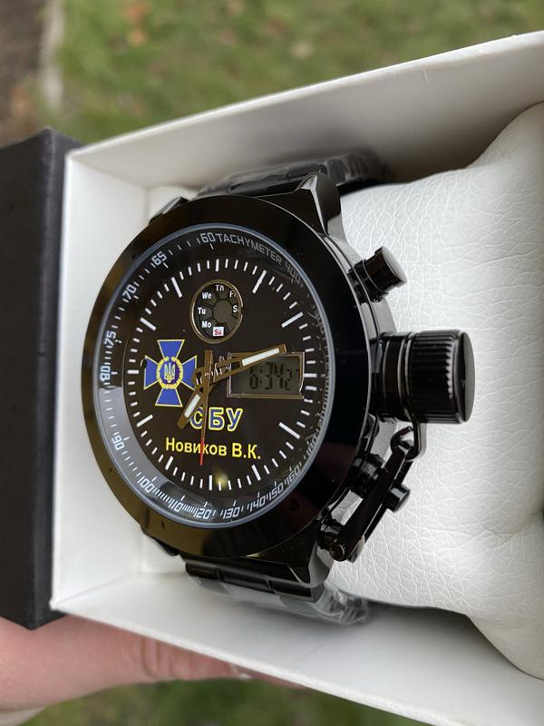 Мужские наручные электронные часы  skmei логотип СБУ - Фото 3