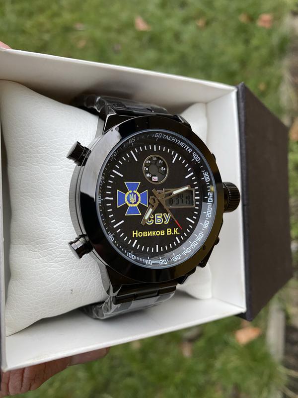 Мужские наручные электронные часы  skmei логотип СБУ - Фото 2