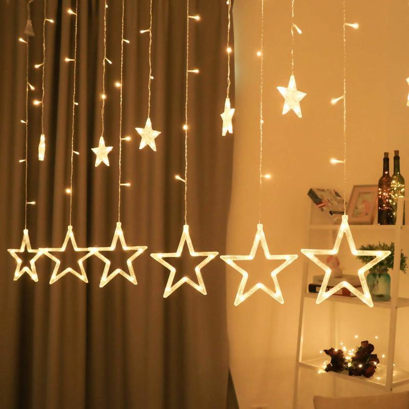 Гірлянда-штора Зірки Гирлянда-штора Звезды 3мх1м теплий білий - Фото 2