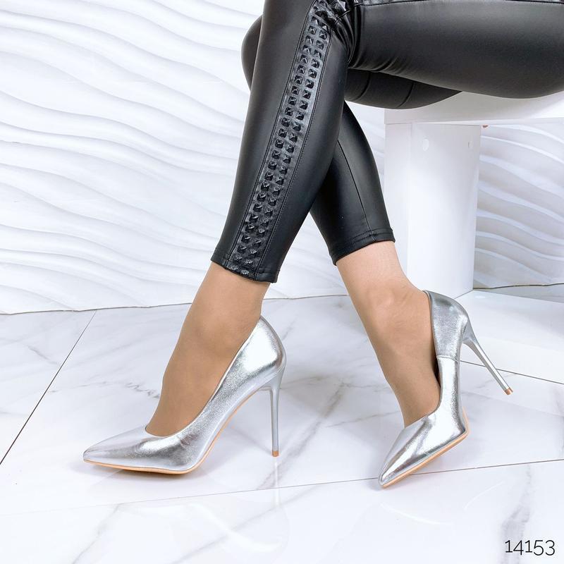 ❤ женские серебристые туфли лодочки ❤
