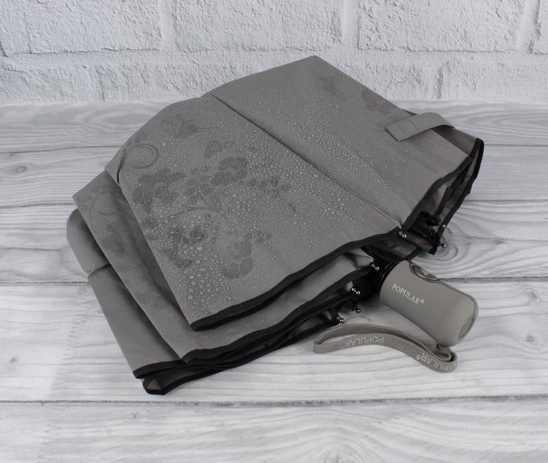 Качественный складной зонт полуавтомат popular 846-5р серый с ...