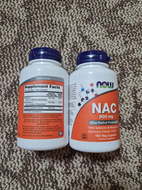 Now Foods, NAC ацетилцистеин 600 мг 100шт