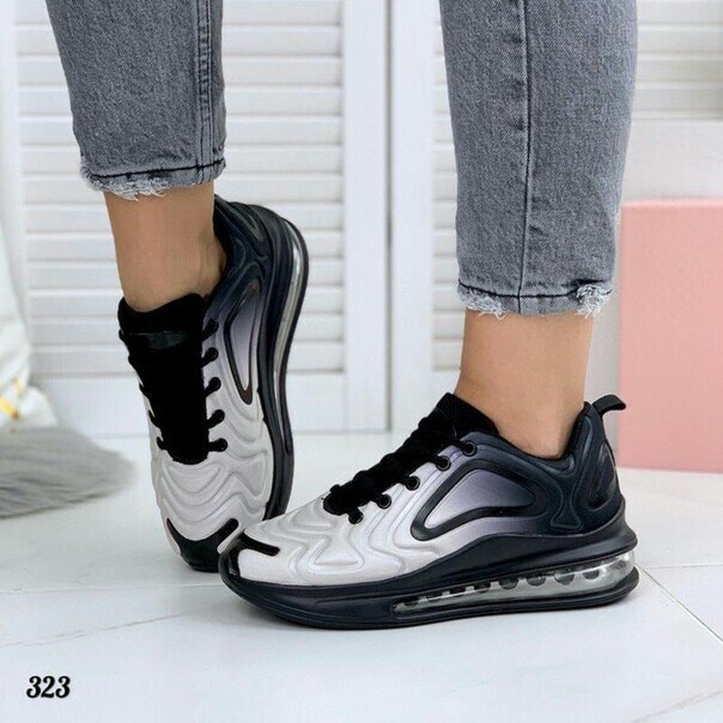 Кроссовки в стиле nike air max омбре черно-белые 41р-26,5 см