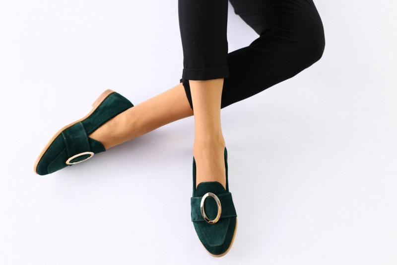 Замшевые туфли без каблука, изумрудные зеленые натуральная замша