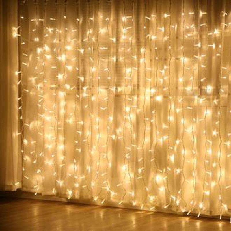 Новогодняя светодиодная LED гирлянда штора водопад с пультом - Фото 2