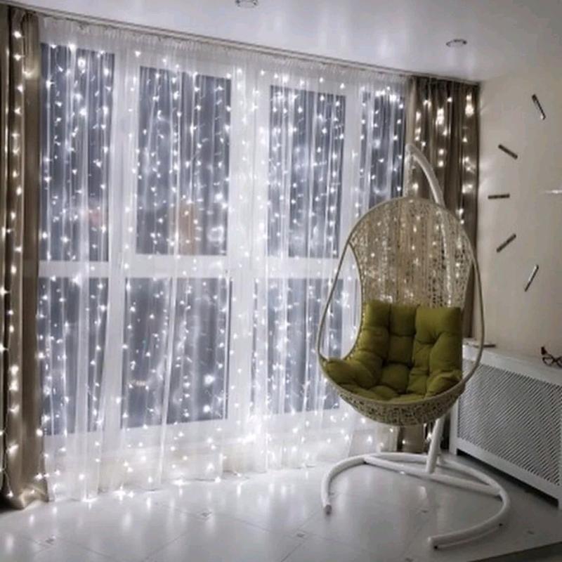 Новогодняя светодиодная LED гирлянда штора водопад с пультом