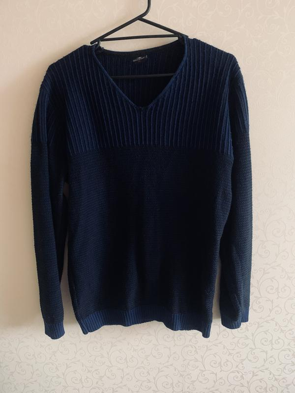 Мужской свитер, синий свитер, тёплый свитер,зимний свитер