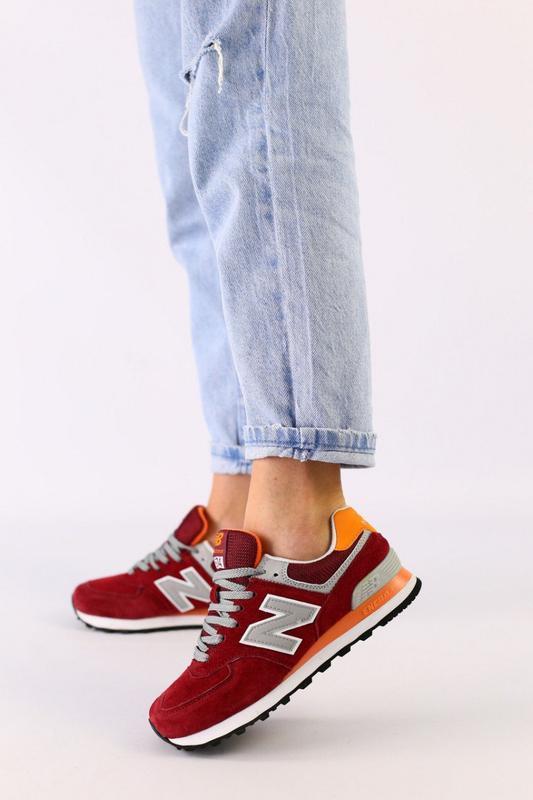 Женские бордовые замшевые кроссовки с оранжевыми кожаными вста...