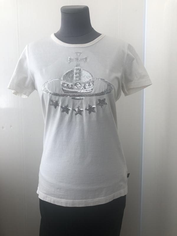 Белая футболка топ с паниками, серебристый рисунок, оригинал v...