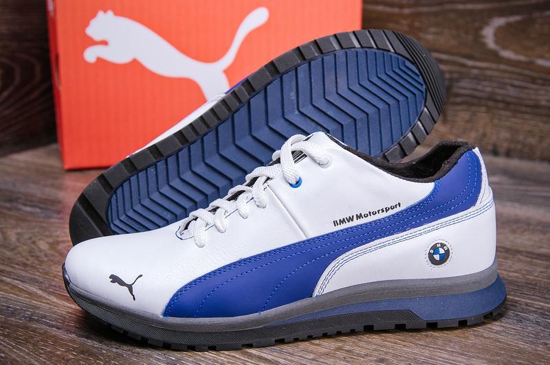 Мужские кожаные зимние кроссовки Puma BMW MotorSport - Фото 20