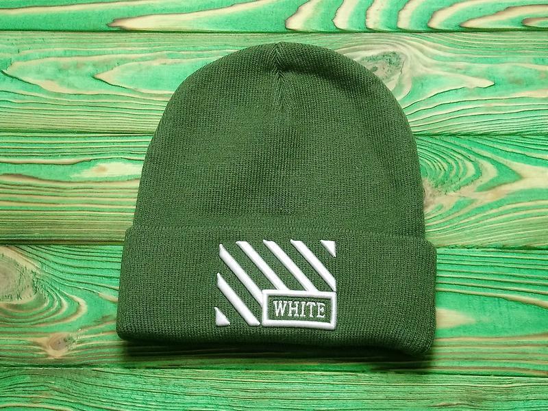 Шапка off-white green/white