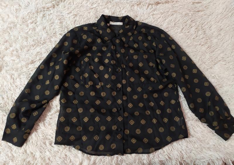 Прозора блуза з золотистими візерунками