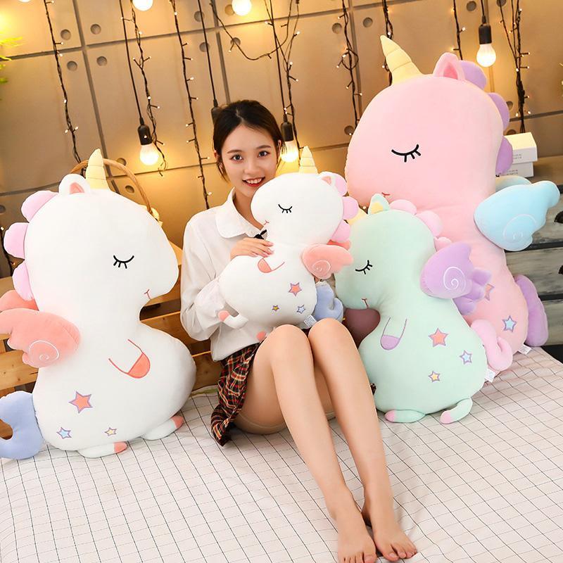 Единорог подушка-игрушка 40-50 см белая велюровая