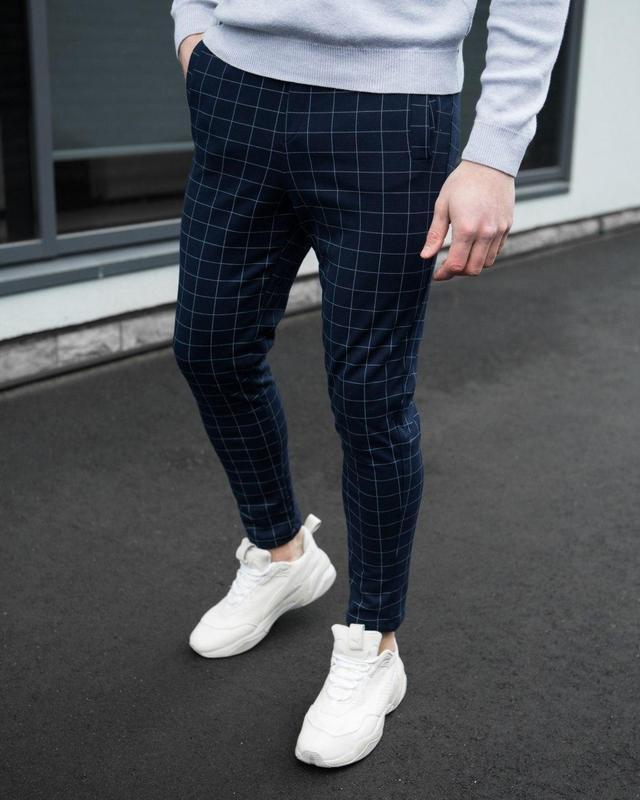Синие мужские брюки в клетку темно-синие штаны в классическом ...