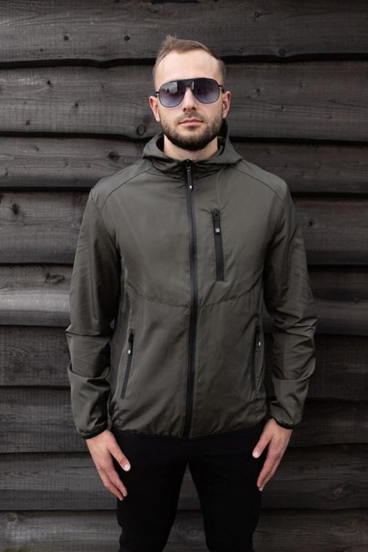 Куртка хаки мужская куртка ветровка деми - Фото 3