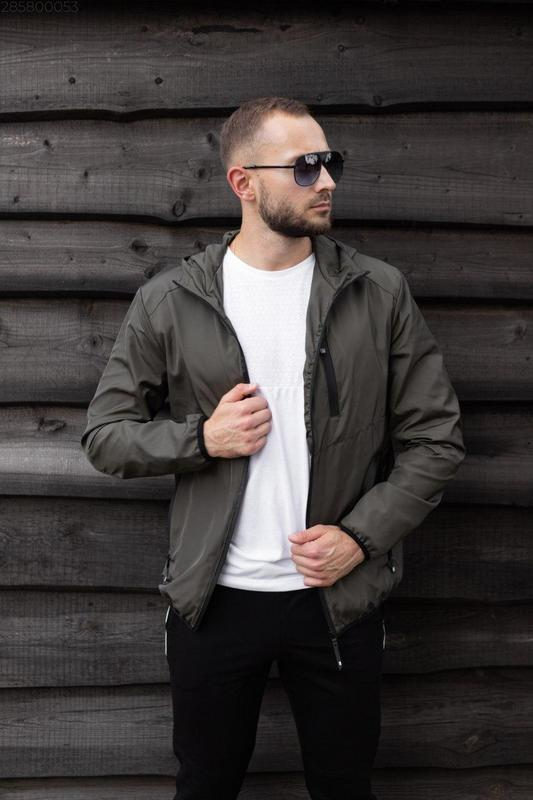 Куртка хаки мужская куртка ветровка деми - Фото 4