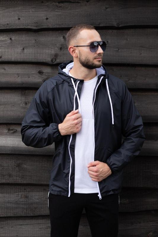 Куртка черная мужская куртка ветровка деми - Фото 2