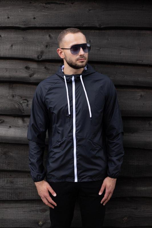 Куртка черная мужская куртка ветровка деми - Фото 3