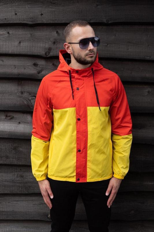 Куртка оранжевая мужская куртка желтая ветровка деми - Фото 2