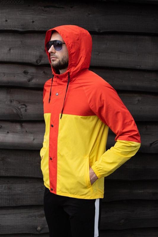 Куртка оранжевая мужская куртка желтая ветровка деми - Фото 3
