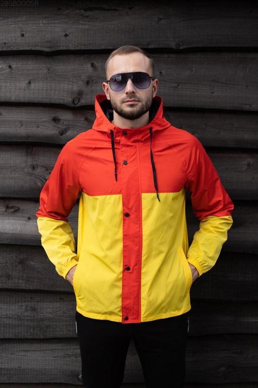 Куртка оранжевая мужская куртка желтая ветровка деми - Фото 4