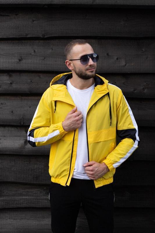 Куртка желтая мужская куртка ветровка деми - Фото 2