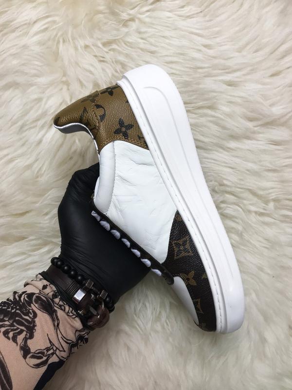 Sneakers brown white. женские кожаные кроссовки. - Фото 2