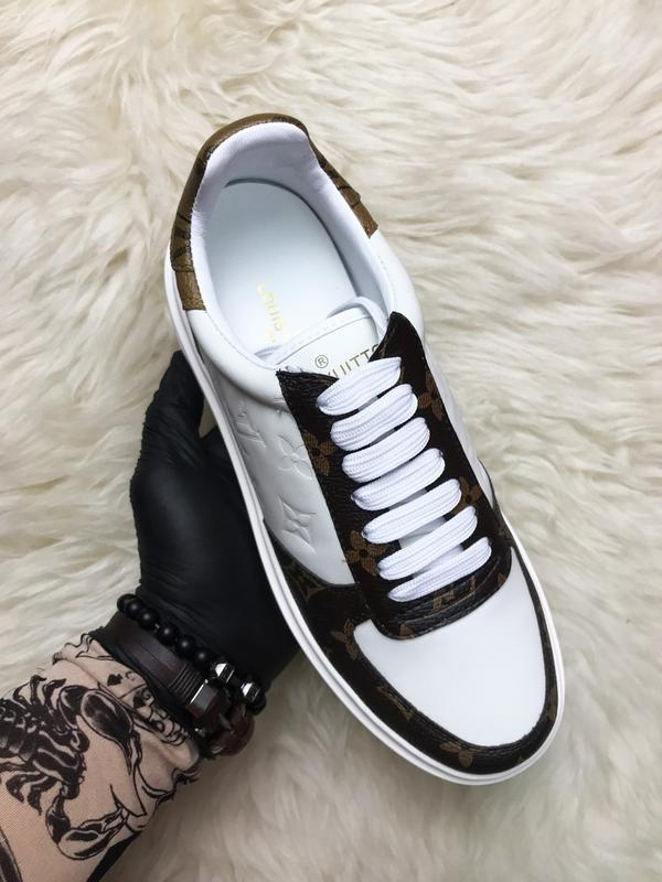 Sneakers brown white. женские кожаные кроссовки. - Фото 3