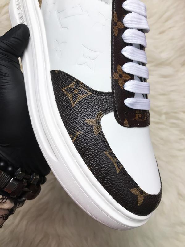 Sneakers brown white. женские кожаные кроссовки. - Фото 6