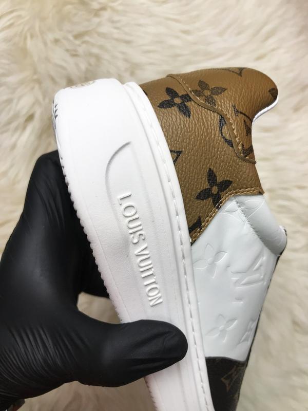 Sneakers brown white. женские кожаные кроссовки. - Фото 8