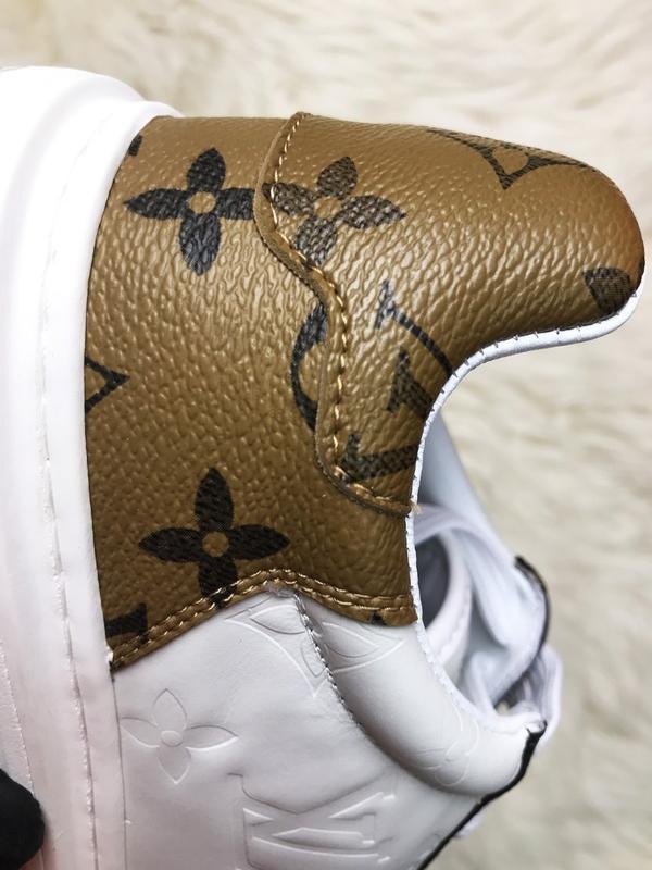 Sneakers brown white. женские кожаные кроссовки. - Фото 10