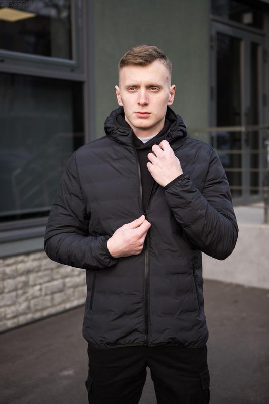 Мужская чёрная куртка с капюшоном осенняя курточка еврозима