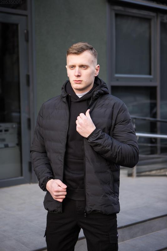 Мужская чёрная куртка с капюшоном осенняя курточка еврозима - Фото 2