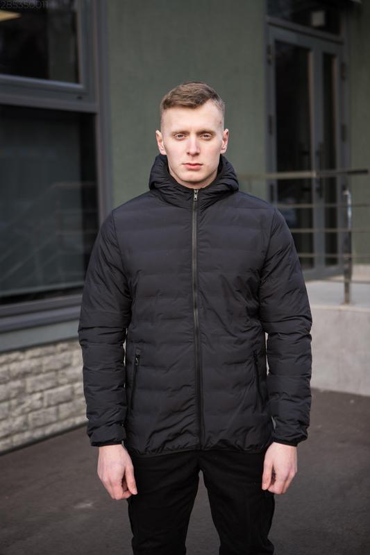 Мужская чёрная куртка с капюшоном осенняя курточка еврозима - Фото 3