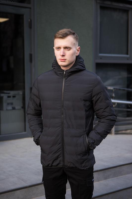 Мужская чёрная куртка с капюшоном осенняя курточка еврозима - Фото 7