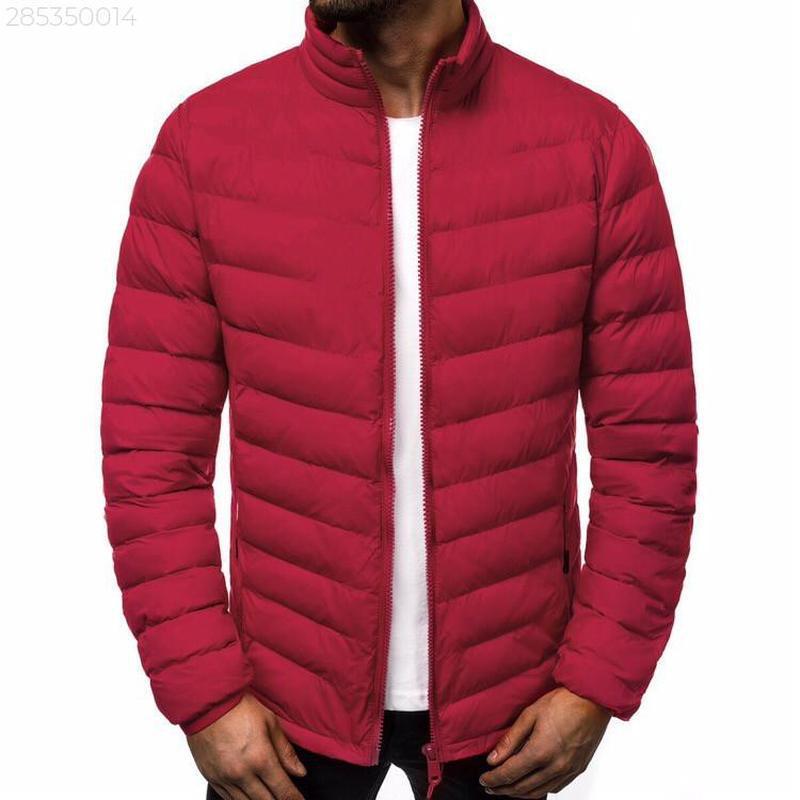 Мужская осенняя красная куртка без капюшона еврозима