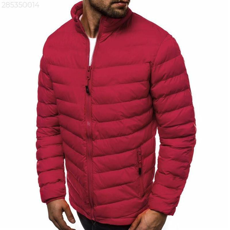 Мужская осенняя красная куртка без капюшона еврозима - Фото 2
