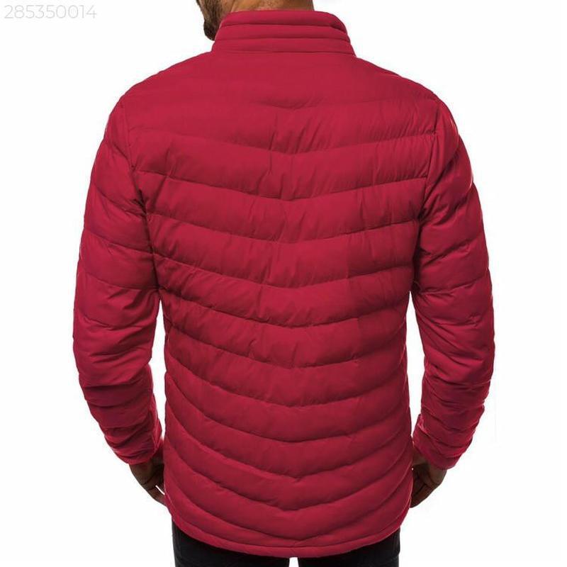 Мужская осенняя красная куртка без капюшона еврозима - Фото 3