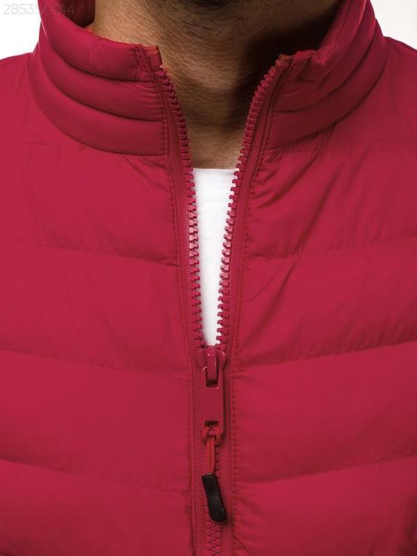 Мужская осенняя красная куртка без капюшона еврозима - Фото 4