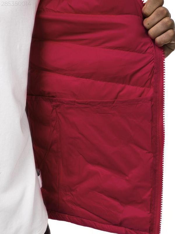 Мужская осенняя красная куртка без капюшона еврозима - Фото 6