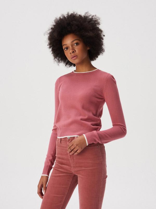 Новая короткая красная розовая амарантовая кофта свитер польша...