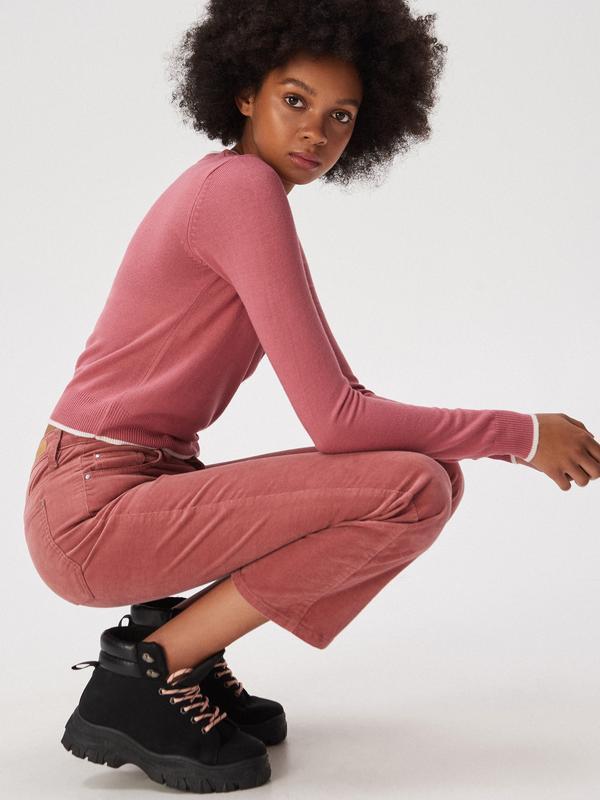 Новая короткая красная розовая амарантовая кофта свитер польша... - Фото 3