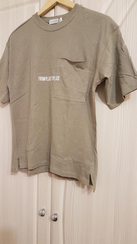 Стильная широкая футболка zara цвета хаки - Фото 2